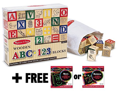 Deluxe 50-piece Wooden ABC & 123 Blocks  - Alphabet Cube Set Shopping Results