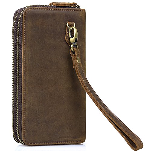 Jack&Chris Mens Leather Long Wallet Double Zip Checkbook Wallet Card Bag Wristlet, NM8058 (Wallet Long Zip)