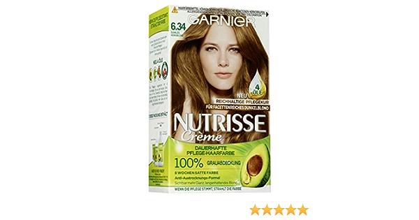 Tinte Garnier Nutrisse, color 6.34, rubio miel oscuro, 3 unidades