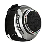 Watch Shape Hand-free Ultra Portable Outdoor Wireless Bluetooth Sport Speakers with LED lights + FM radio + Microphone + MP3 Music Player, for Runners, Jogger, Bicyclers, Climbers, Hikers, Kids(Black)