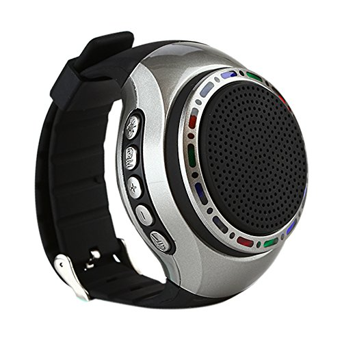 Watch Shape Hand-free Ultra Portable Outdoor Wireless Bluetooth Sport Speakers with LED lights + FM radio + Microphone + MP3 Music Player, for Runners, Jogger, Bicyclers, Climbers, Hikers, Kids(Black) by E T
