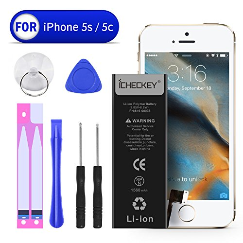ICHECKEY iPhone 5s/5c 1560mAh Spare Battery with Complete Repair Tools Kit and Instructions Replacement External Li-Ion battery pack [365 Days Warranty] (Apple Iphone Repair 5c Kit)