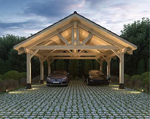 ECOHOUSEMART | Carpa de Madera para 2 vehículos y Cubierta de Patio 20 x 22 x 16 | Madera de ingeniería, GLT | DIY prefabricado: Amazon.es: Jardín