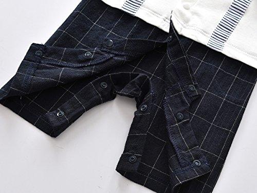 Baby Boys Gentleman Romper Bowtie Jumpsuit Plaid Outfit 3 Colors (70(3-6m), White)