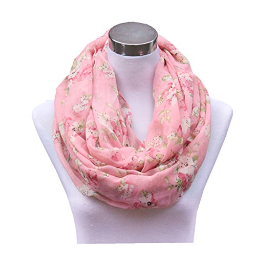 Infinity Flower (Lucky Leaf Lightweight Silky Cozy Fashion Gauze Loop Infinity Scarf for Women (Pink Flowers))