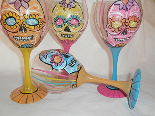 Hand painted colorful sugar skull goblets. set of 4 20 ounce red wine gobblets. usa -
