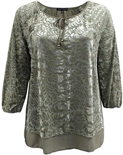 Designer Olive Velvet (Plus Size Women Stylish Velvet Design Winter Fall Top Shirt Blouse Sweater Olive 3X (16.021))