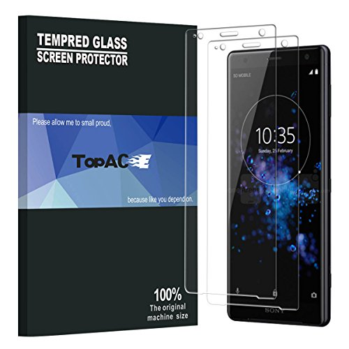 Sony Xperia XZ2 Screen Protector, TopACE 9H Hardness [Case Friendly][Anti-Scratch][Bubble Free] Tempered Glass for Sony Xperia XZ2 (2 Pack)