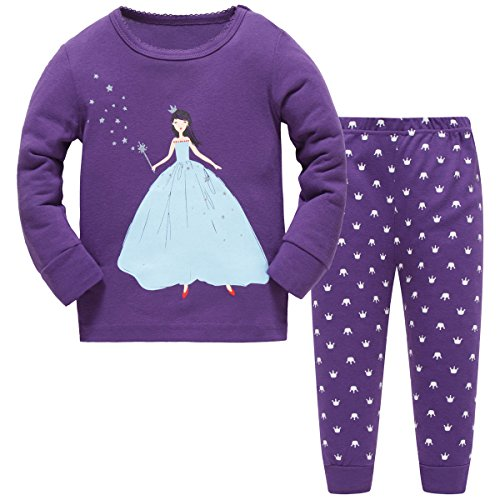 Hugbug Girls Pajamas with Princess for Toddler and Kid Girls 3T