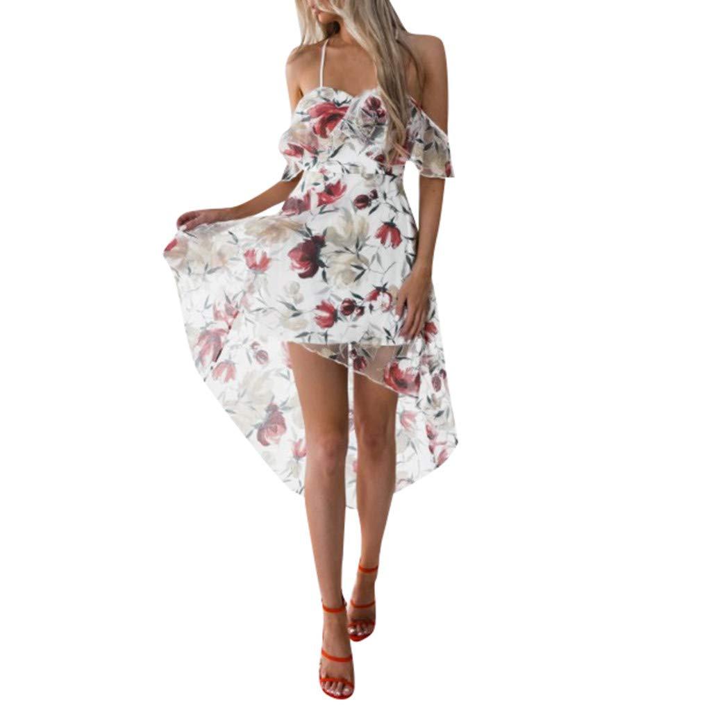 Kingko  Sommerkleid Damen mit V-Ausschnitt-Schlingen-Spitze Lang High Waist Elastische Striped Sleeveless Beach Kleid Partykleid Elegant