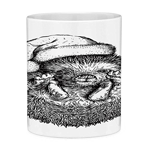 Funny Coffee Mug with Quote Hedgehog 11 Ounces Funny Coffee Mug Monochrome Hedgehog with Winter Attire Funny Hat Cute Animal Fauna Image Print Black -