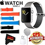 Apple Watch Series 2 42mm Smartwatch (Silver Aluminum Case, Pearl Woven Nylon Band) + Watch Band Black 42mm + Watch Band Red 42mm + Watch Band Blue 42mm + MicroFiber Cloth Bundle