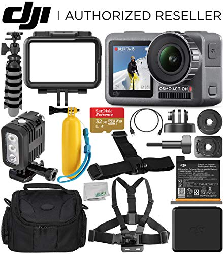 DJI Osmo Action 4K Camera with 32GB Underwater Starter Accessory Bundle - Includes: SanDisk Extreme 32GB microSDHC Memory Card + Carrying Case + Underwater LED Light + Floating Handle + More from DJI