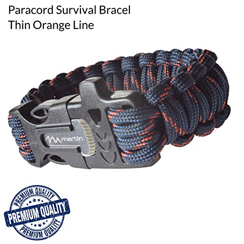 Paracord Survival Bracelet [Camping, Hunting, Fishing], Mertlin Survival Bracelet with Fire Starter, Emergency Whistle and Scraper/Knife, Paracord 550, Basic Survival Gear, Thin Orange Line, - Gear Canada Running
