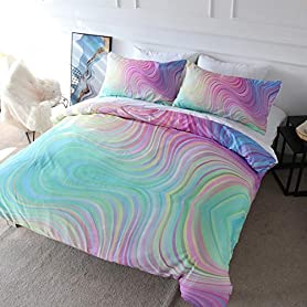 BlessLiving 3D Modern Pattern Bedding Set Duvet Cover Set Pastel Rainbow Marble Printed Comforter Cover 3 Pieces Bed Sets with 2 Pillow Cases (Twin) 3