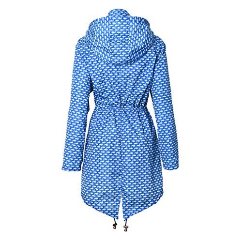 Coulisse Con Mxssi Blu Whale Zipper Outstring Pocket Impermeabile Donna Lungo Cappuccio Solid Jacket qPqx4X