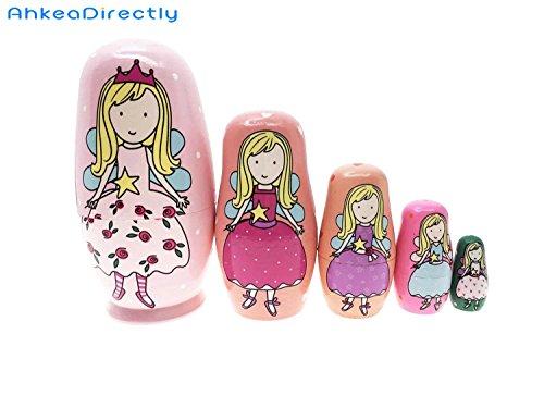 AhkeaDirectly Lovely Pink Angel Princess Handmade Matryoshka Wishing Dolls Russian Nesting Dolls Set 5 Pieces Wooden Kids Gifts Toy -