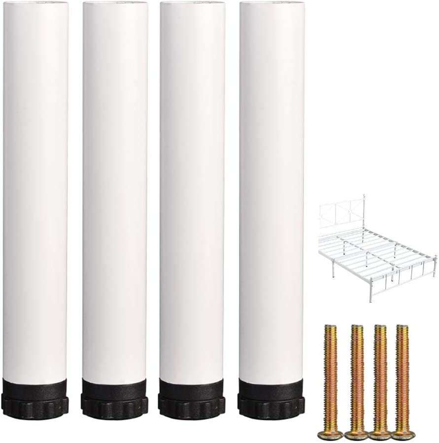 Metal Bed Leg Furniture Feet X 4, Adjustable Cylindrical Furniture Legs, DIY Shelf Support Legs, Replacement Legs, with Mounting Screws, White/Black (15-35cm)