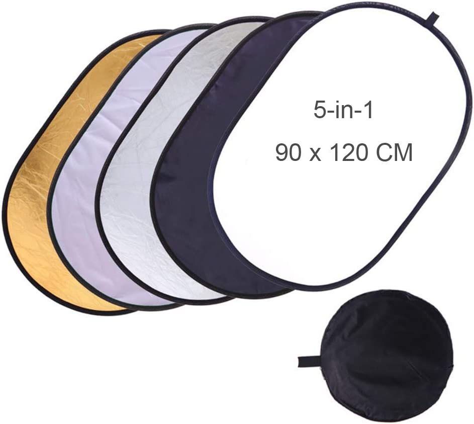 in Carry Bag for Studio Indoor//Outdoor Any Photography Situation Translucent Silver Black Gold White Foto/&Tech 36x47//90x120CM 5-in-1 Collapsible Light Reflector//Diffuser Oval Multi-Disc