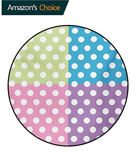 RUGSMAT Polka Dots Print Area Rug,Polka Dots in Modern Patchwork Design Print Nursery Playroom Kids Sprinkles Perfect for Any Room,Floor Carpet,Round-71 Inch Pink Blue Green ()