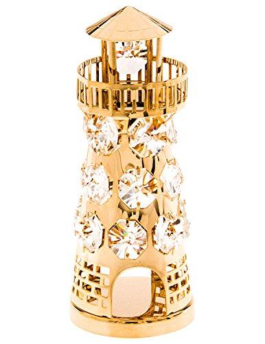 Lighthouse 24k Gold Plated Metal Figurine with Spectra Crystals by Swarovski - Lighthouse Swarovski Crystal