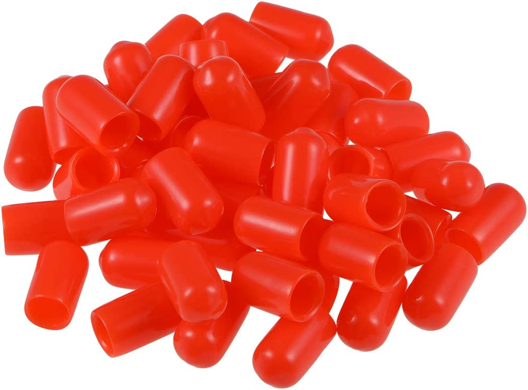 uxcell Screw Thread Protectors 9//16-inch ID Rubber Round End Cap Cover Flexible Red Tube Caps 50pcs