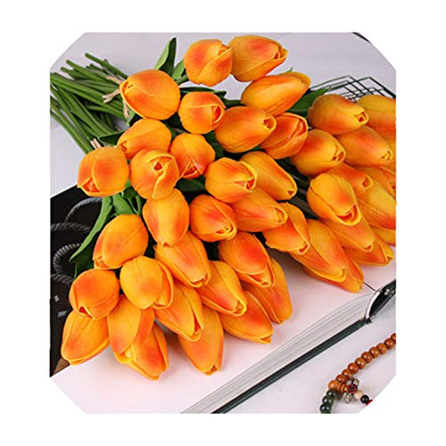 10 Pcs Beauty Real Touch Flowers Tulips Flower Artificial Fake Flower Bridal Decorate Flowers for Wedding Sunset]()