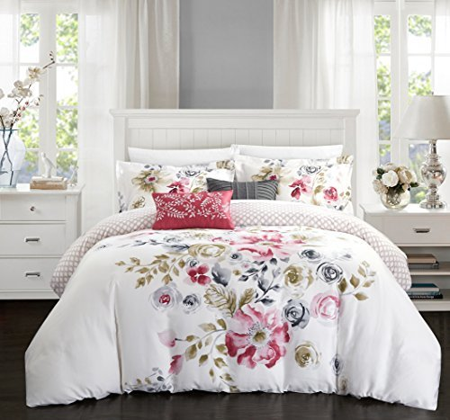 Chic Home 5 Piece Belleville Garden Reversible Floral Print and Geometric Patterned Technique King Comforter Set Rose from Chic Home