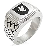Two-Tone Stainless Steel Dove Peace Coat of Arms Shield Engraved Geometric Pattern Step-Down Biker Style Polished Ring, Size 11