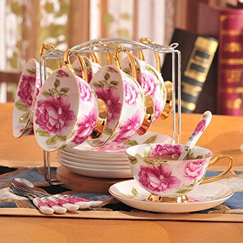 DEED Cappuccino Cups Saucer Sets,European - Style China Coffee Mugs Ceramic Cup Set English Afternoon Tea Retro England Rose with Shelf Coffee Mugs Ceramic Cup,Home Water Cup,Kitchen Restaurant Tabl (Tea English Style)