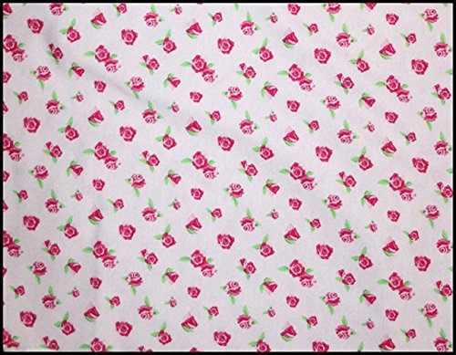 Euro Oeko-Tex Knit Tea Party Roses Valentine Flower Design Fabric By the Yard, 92% Cotton, 8% Lycra, 60 Inches Wide, 4 Way Stretch, Medium Weight (2 (Costume Direct New Business)