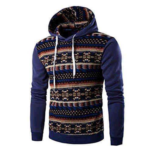 Price comparison product image Men's Sweater, Neartime Retro Long Sleeve Hoodie Hooded Sweatshirt Men Jacket Coat Outerwear (M,  Blue)