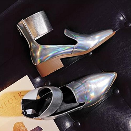 Easemax Womens Stylish Glitter Scarpe A Punta Alta Alto Basso In Chunky Tacco Alto Scarpe Argento