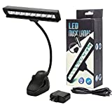 HONGYU Clip On Reading Book Lights, 9 LED USB/Battery Music Stand Lamp, 2 Brightness Level Piano Light Adjustable Neck for Desk, Table, Computer,Bedroom, Bed Headboard
