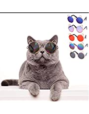 SEIS 5Pcs Cat Sunglasses Halloween Funny Pet Goggles Glasses Heart/Ear/Square Classic Retro Circular Metal Circle Eye for Cats Small Medium Dogs