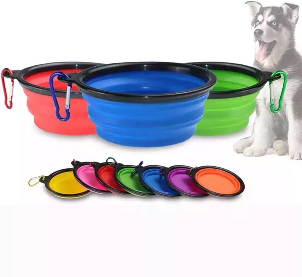 Collapsible Dog Bowl, Small Water Folding Portable Travel Foldable Silicone Collapsible Food Pet Dog Bowl for Dog (red)