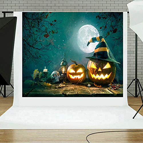 Sikye Halloween Backdrops, Pumpkin 5x3FT Lantern Photography Studio Vinyl Fabric Backdrop,150×90cm (C) ()