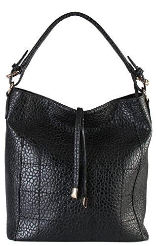 diophy-womens-faux-leather-zipper-closure-shoulder-bag-handbag-gs-3324-black