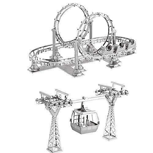 MOTU 2pcs 3D Metal Puzzle Roller Coaster + Cable Car Model Kits F31104-05 DIY 3D Laser Cut Jigsaw Toys