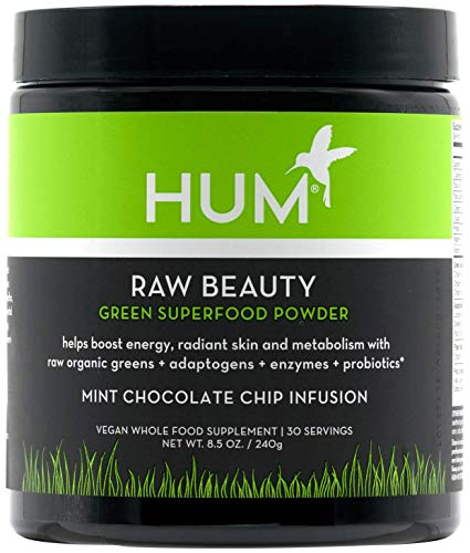 HUM Raw Beauty Chocolate Mint - Green Superfood Powder with Adaptogens, Enzymes + Probiotics (240g / 30 Servings)