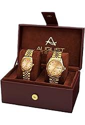 August Steiner Unisex AS8201YG Quartz Movement Analog Display Gold Tone Watch Set