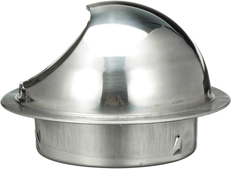 plateado Cubiertas de rejilla de ventilaci/ón de acero inoxidable SENRISE para rejilla de ventilaci/ón de pared redonda de metal para el escape de pared exterior campana de escape aire fresco