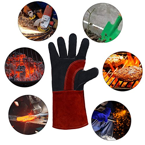 Leather Welding Gloves BOWOO Stitching Heat Resistant Glove for Tig/Mig/Stick/Gardening 14IN,1 pair (Red-Black) by BOWOO (Image #5)