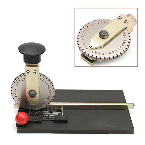 Metal Embosser (Manual Deboss Metal Embosser Label Dog Tag Stamping Embossing Marking Machine with 5.0mm Print Wheel)