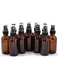 12, Amber, 2 oz Glass Bottles, with Black Fine Mist Sprayers