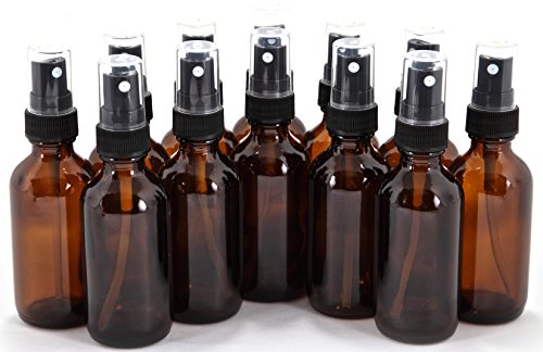 12, Amber, 2 oz Glass Bottles, with Black Fine Mist Sprayers (Glass Oz Two)