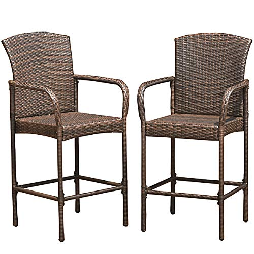 COSTWAY Rattan Wicker Bar Stool Outdoor Backyard Chair Patio Furniture with Armrest Set of 2 (High Rattan Bar Stools Back)
