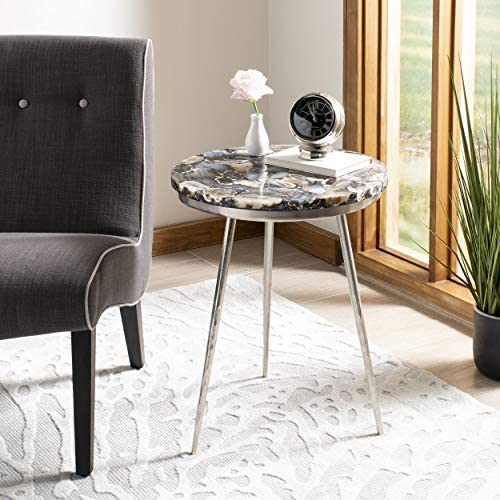 Safavieh Home Faryn Multicolored Agate and Nickel Round Accent Table