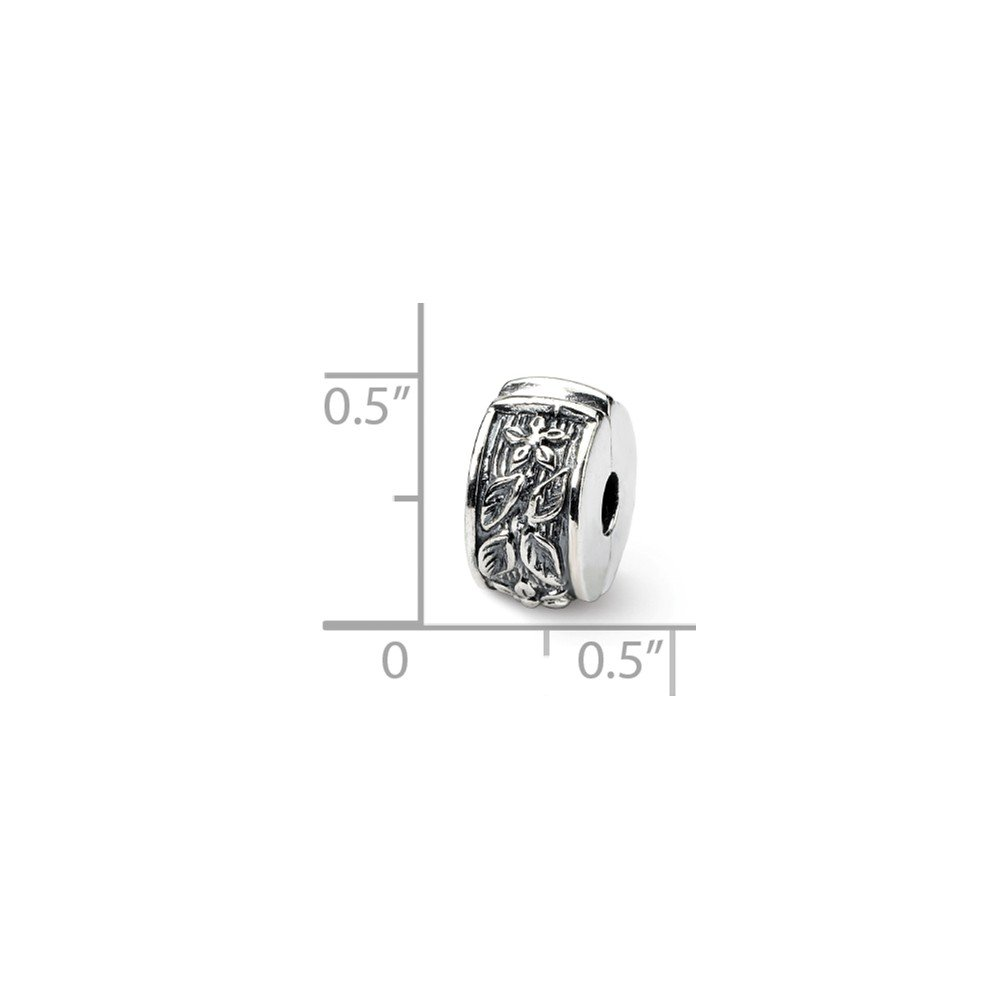 FB Jewels Solid 925 Sterling Silver Reflections Hinged Floral Clip Bead