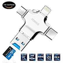 4 in 1 Card Reader, YOMAIS Micro SD Card Reader with Type C USB Lightning Connector Micro USB HUB Adapter, TF Flash Memory Card Readers For iPhone, iPad, Mac, PC, Android USB 3.0 (Silver)